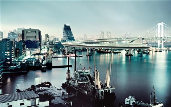 Обои Токио, Япония, Радужный мост, лодки, здания