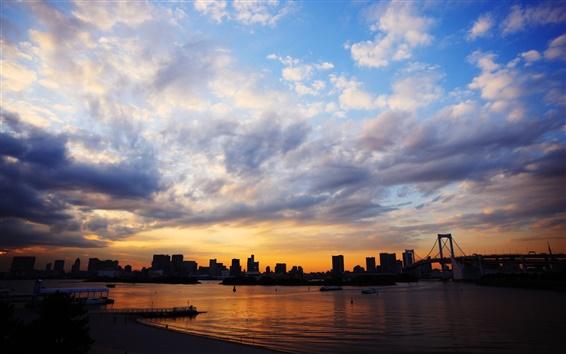 Fond d'écran Tokyo, Japon, ville, pont, coucher de soleil, la mer, les bâtiments, le ciel, les nuages