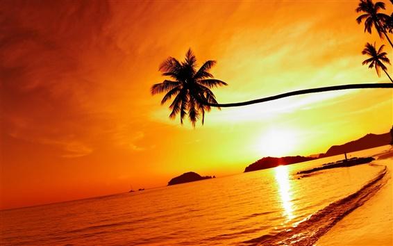 Papéis de Parede Pôr do sol tropical da praia, ilha Mak, Tailândia