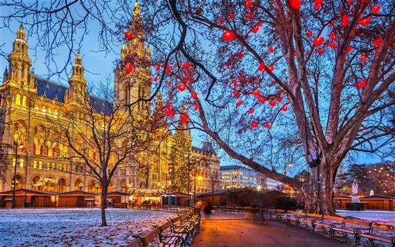 Fond d'écran Vienne, Autriche, Hôtel de ville, hiver, neige, arbres, égaliser, bâtiments