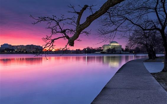 Wallpaper Washington, USA, evening, park, trees, lake