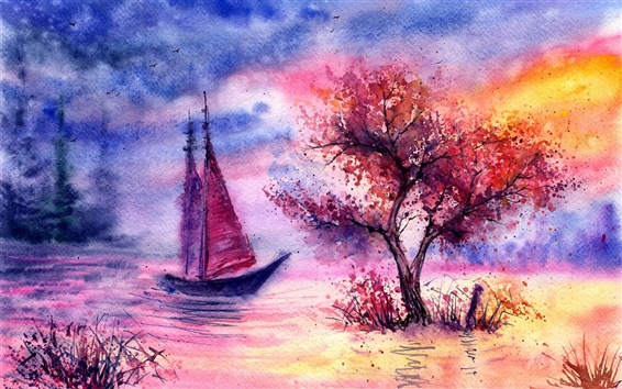 Wallpaper Watercolor landscape, evening, tree, sailing, river