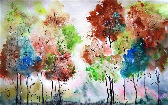 Wallpaper Watercolor painting, trees, colors