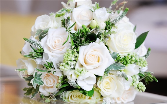 Wallpaper White bouquet rose, flowers, leaves
