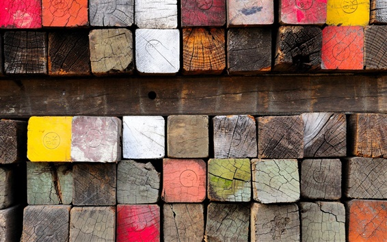 Wallpaper Wood, lumber, paint, colorful
