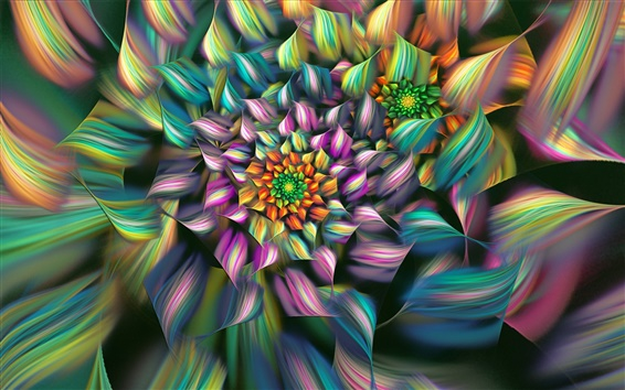 Wallpaper Abstract flower, colorful petals