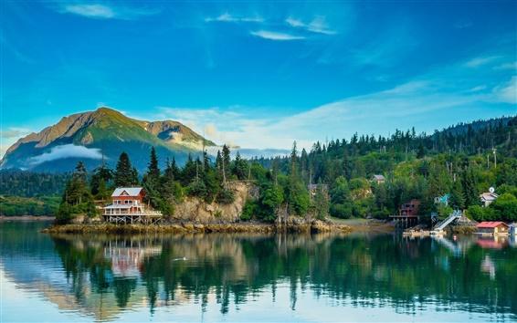 Fond d'écran Alaska, montagne, forêt, arbres, village, lac, réflexion de l'eau