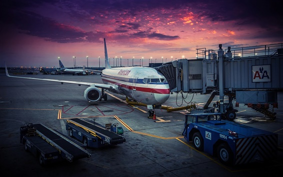 Wallpaper American Airlines, Chicago, airplane, airport, dawn