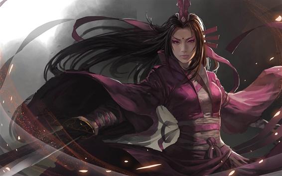 壁紙 アートファンタジー少女、アジア、剣、紫の服