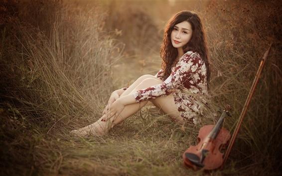 Papéis de Parede A menina asiática, pose, olhar, violino, música