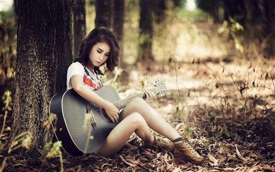 Papéis de Parede Menina da guitarra asiático, estar, árvores