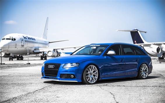 Wallpaper Audi A4 blue car, airport, aircraft
