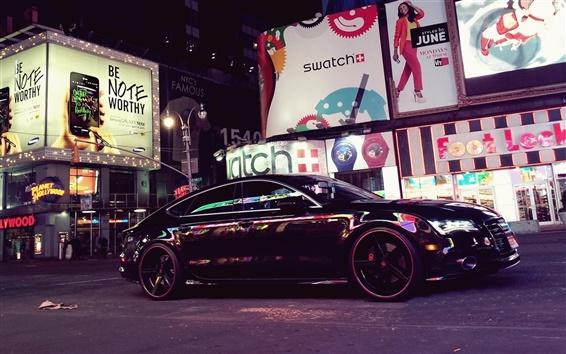 Wallpaper Audi A7 black car, city street, night