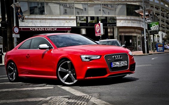 Wallpaper Audi RS5 red car side view