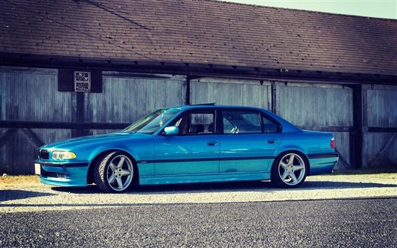 Wallpaper BMW E38 750iL blue car side view