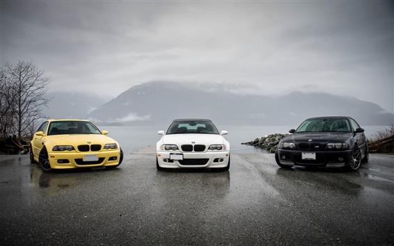 Обои BMW M3 E46 желтые черный белый автомобили
