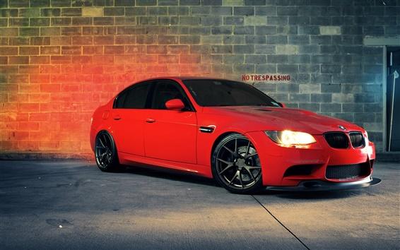 Fondos de pantalla BMW M3 coche rojo en la noche