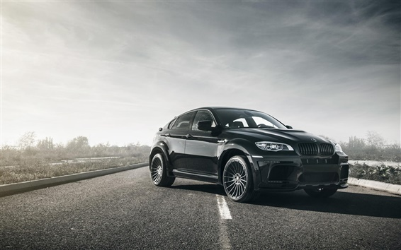 Wallpaper BMW X6M black car in the road