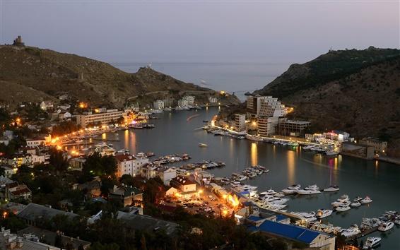 Wallpaper Balaklava, city, lights, dusk, buildings, sea, boat, night