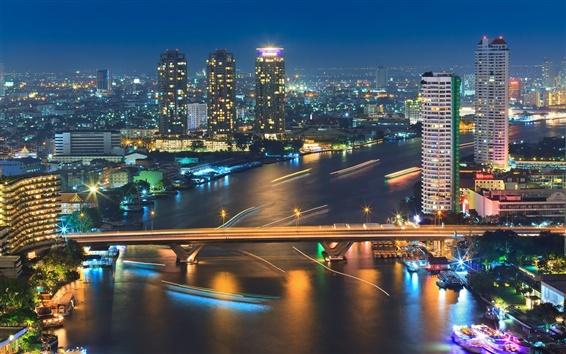 Обои Бангкок, Таиланд, город ночь, река, огни, мост, лодка, здания
