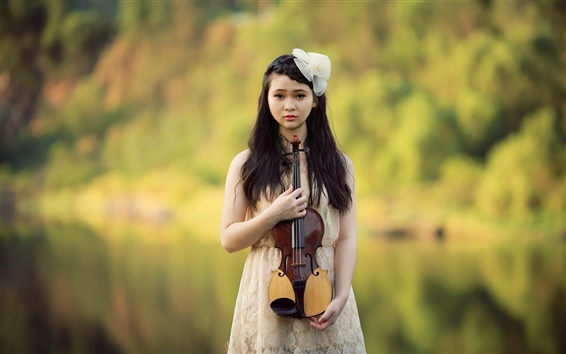 Wallpaper Beautiful asian girl, violin, music