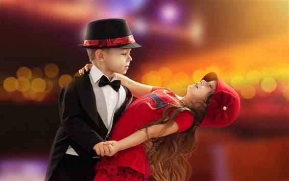 Fond d'écran Belle danse, jolie fille et un garçon, enfant