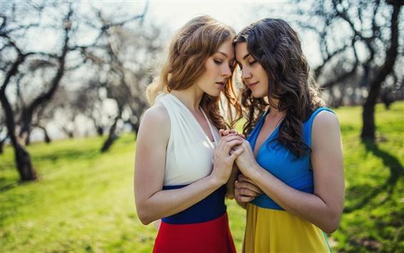 Wallpaper Beautiful girls, sisters