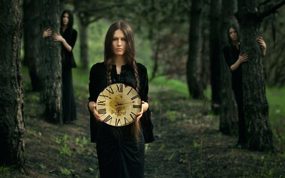 Wallpaper Black dress girl, forest, clock