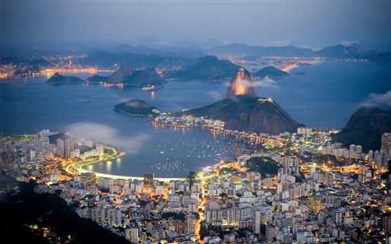 Wallpaper Brazil, Rio de Janeiro, evening, sea, lights, coast, houses, mountains