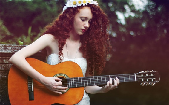 Wallpaper Brown hair girl, guitar, music