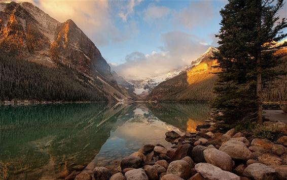 Fond d'écran Canada, le parc national Banff, lac, pierres, montagnes, matin, lever de soleil