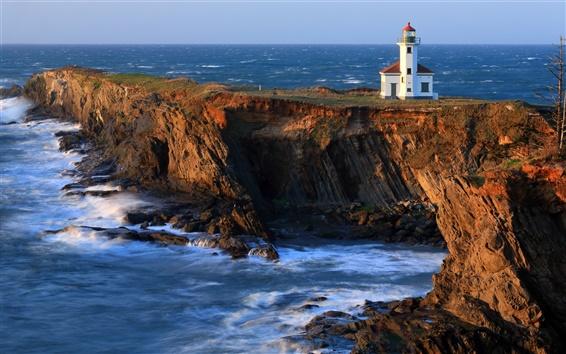 Wallpaper Cape Arago Lighthouse, beach, coast, cliffs, Pacific