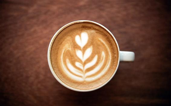Fondos de pantalla Café Cappuccino, espuma, modelo, corazón, taza