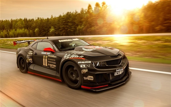 Wallpaper Chevrolet Camaro muscle black supercar, high speed