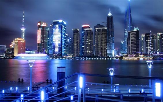 Papéis de Parede China, Shanghai, Pudong, noite, luzes, arranha-céus, o rio Huangpu
