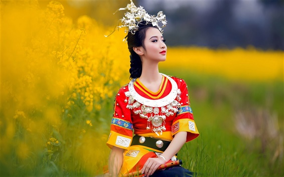 Wallpaper Chinese ethnic minority girls dress