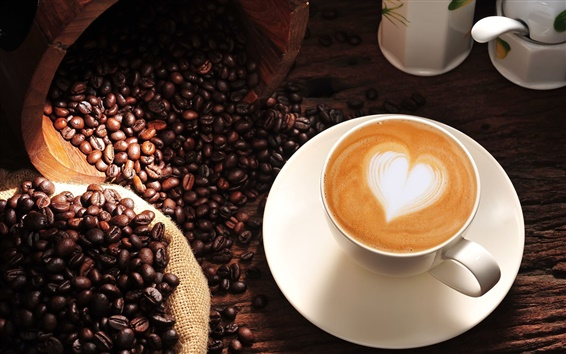 Wallpaper Coffee, cappuccino, heart, love, cup, coffee beans