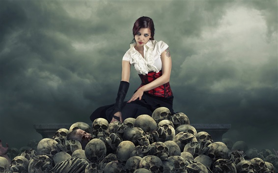 Wallpaper Creative pictures, girl, skull