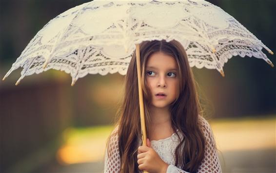 Fond d'écran Enfant mignon, longue fille de cheveux, parasol
