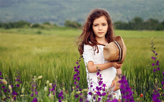 Wallpaper Cute girl at the fields, flowers