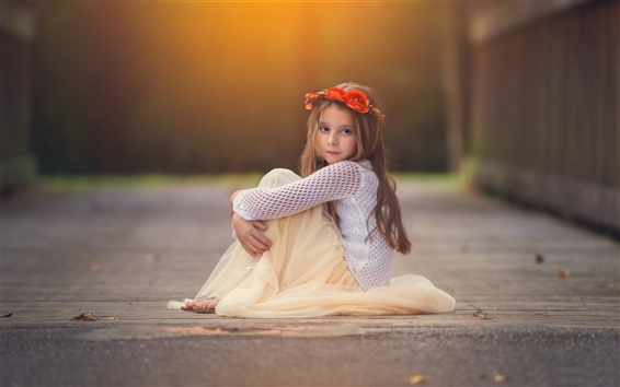 Wallpaper Cute girl, child, sitting, look, wreath, flowers