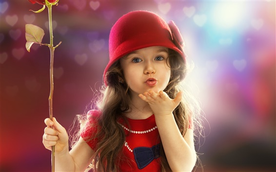 Wallpaper Cute red dress little girl, child, sweet kiss