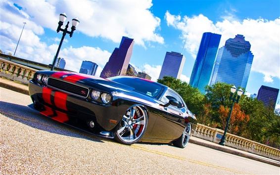 Papéis de Parede Dodge Challenger RT Opinião lateral do carro preto