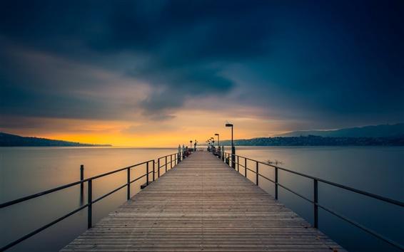Fond d'écran Crépuscule, côte, mer, pont, pilier, ciel