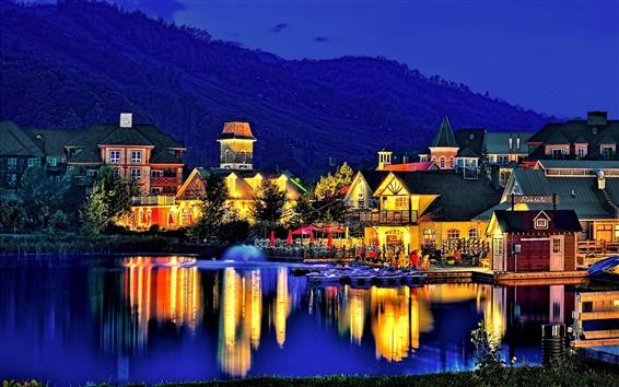 Wallpaper Dusk landscape, mountain slope, village, lake, evening, lights