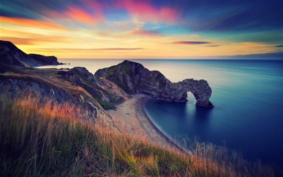 壁紙 イギリス、朝の風景、海、岩のアーチ
