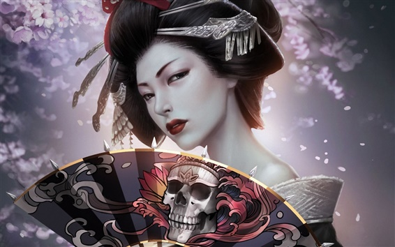 Wallpaper Fantasy japanese girl, geisha, kimono, paper fan, skull