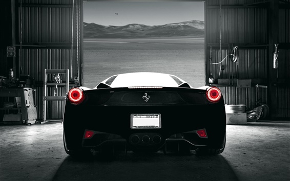 Wallpaper Ferrari 458 Italia black supercar back view