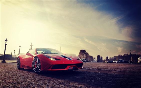 Wallpaper Ferrari 458 Speciale red supercar front view