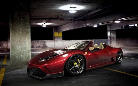 壁紙 駐車場でのフェラーリ458スパイダー赤スーパーカー